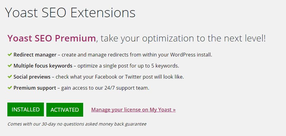 Hướng dẫn active plugin Yoast SEO Premium