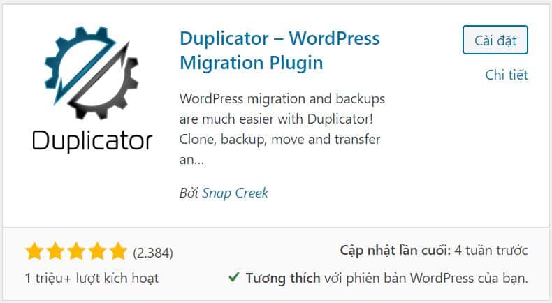 chuyển tên miền cũ sang tên miền mới sử dụng plugin Duplicator
