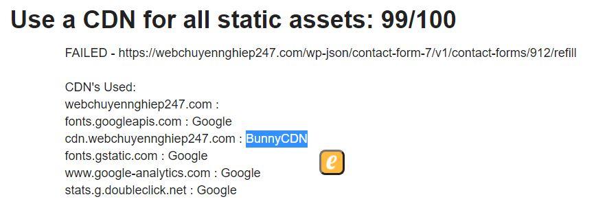 kiểm tra hiệu suất trang website sử dụng bunnycdn