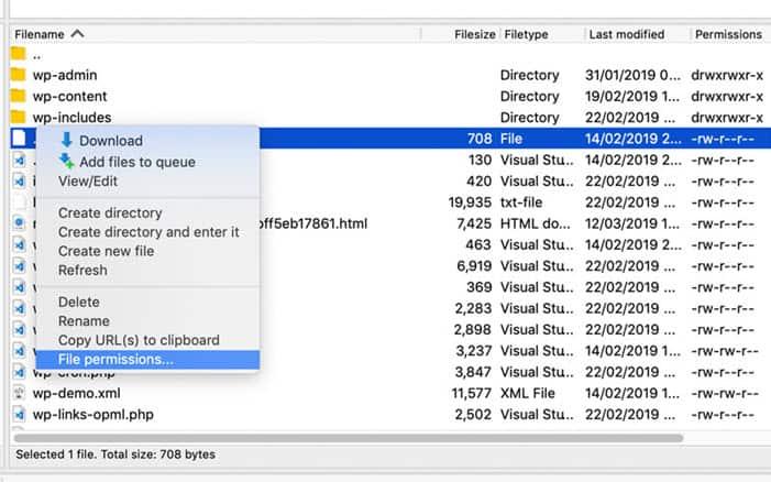 Chỉnh sửa quyền truy cập file trong WordPress với FTP