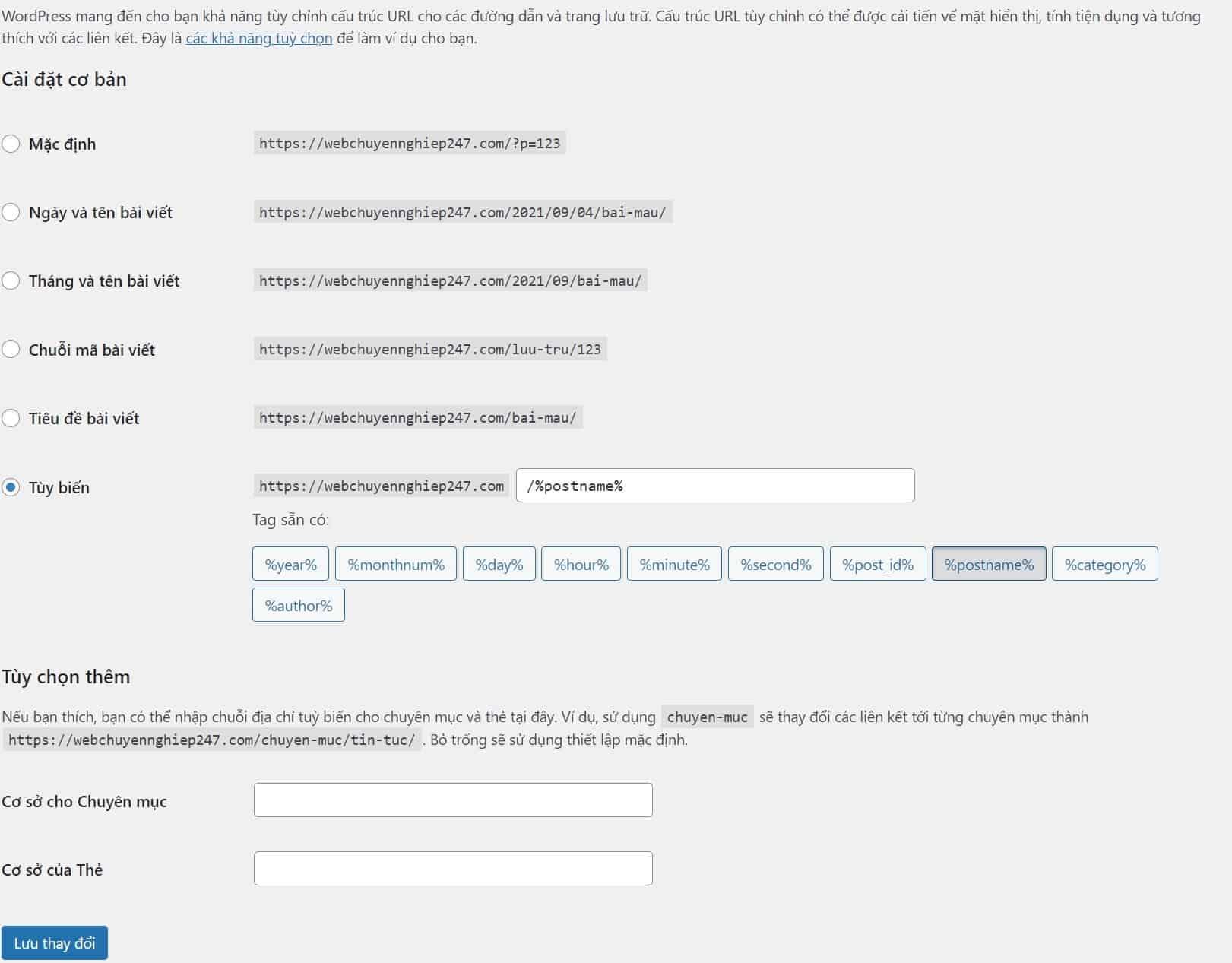 Cài đặt đường dẫn tĩnh trong WordPress